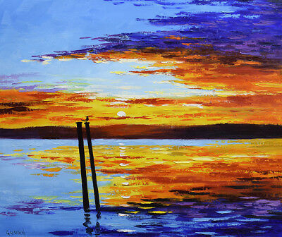 Sunset Art, sunset painting, original oil, ocean sunset, clouds  by G. Gercken