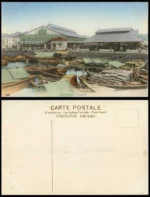 Singapore Old Hand Tinted Color Postcard New Market Native Sampans Boats Harbour