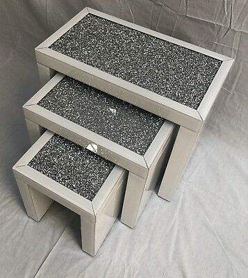 Brand New White Gloss Crushed Diamond Mirrored Nest of 3 Tables