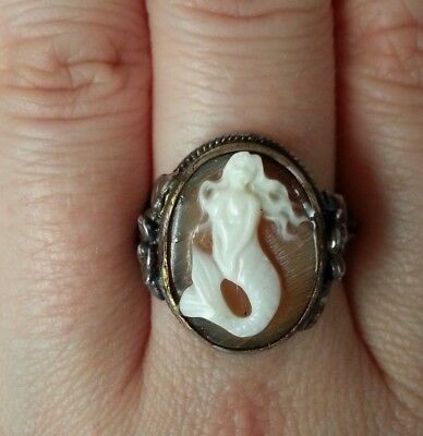 Vintage sterling silver ring with hand-carved mermaid cameo and flowers, signed