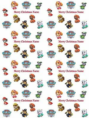 Paw Patrol Personalised Christmas Wrapping Paper ADD NAME/S CHOOSE BACKGROUND