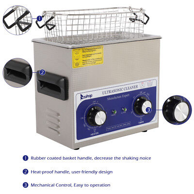 3 L Stainless Steel Liter Industry Heated Ultrasonic Cleaner Heater w/Timer USA