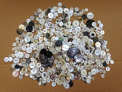 Mixed 14 Oz Lot Of Antique Mother Of Pearl Sewing Buttons,mostly Sew Thru,mop