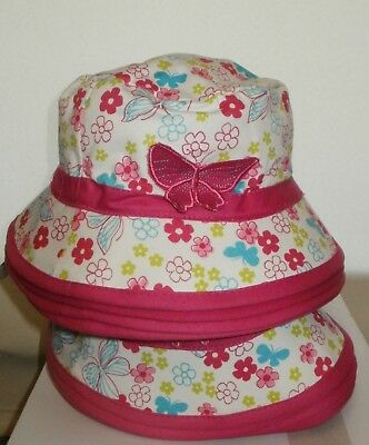 Girls sun hat pink & white with butterfly x 16 Retirement sale