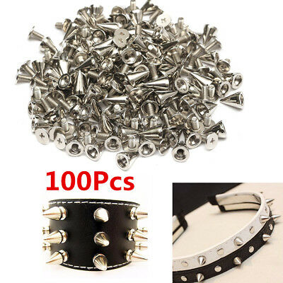 100X 7x10mm Silver Metal Studs Rivet Bullet Spike Screw Rock Punk Leather Craft