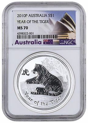 2010-P Australia $1 1 oz. Silver Lunar Year Tiger NGC MS70 (Excl Label) SKU42243