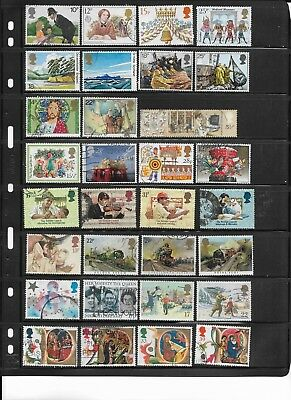 58 Different Used Great Britain Commemorative Stamps - c.v.$27.50