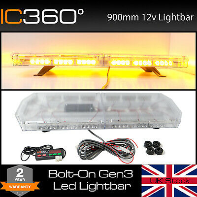 "IC360 35"" 90cm 900mm LED Slimline Recovery Lightbar Clear Lens Amber Flashing"