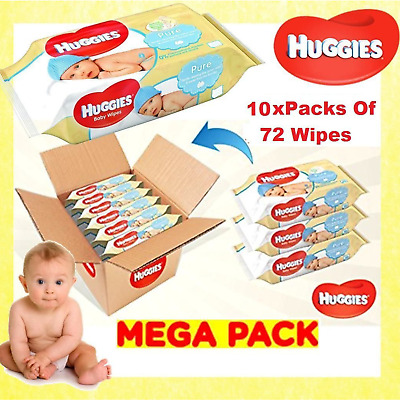 Huggies Pure Baby Wipes Pack of 10 x 72 Wipe - 720 Total Wet Bulk Wholesale