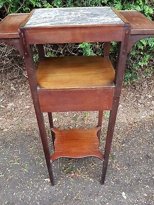 Antique Edwardian Marble Top Gentleman's Washstand. Shaving Console. Unusual