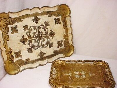 "2 Vtg Florentine Gilt Wood Serving Trays Gold Toleware Italy 16x11"" & 11x8"""