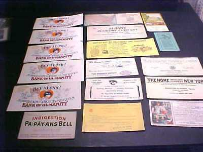 17 Advertising Ink Blotters Buy A Bond, Salvation Army, & Insurance Companies