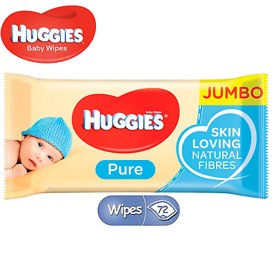 Huggies Pure Baby Wipe 72 Wipes Gentle Sensitive Skin Natural Alcohol Free