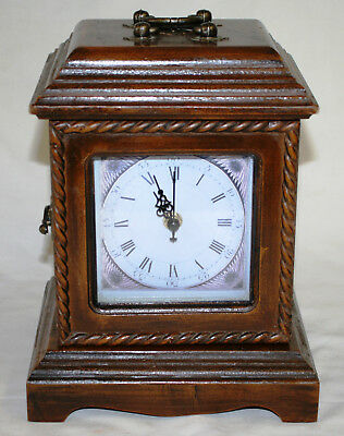 Vintage Wooden Quartz Carriage Clock with 3 Hidden Drawers Fully Working