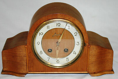 Antique Junghans Chiming Platform Escapement Mantle Clock with Key Fully Working