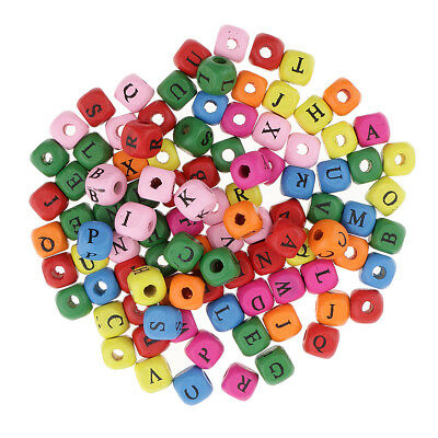 100-Piece Colorful Wooden Alphabet Letters A-Z Beads for Jewelry Making 10mm