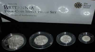 Royal Mint Britannia 2011 four coin silver proof set in box with certificate