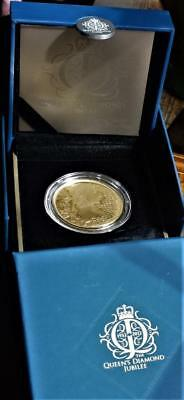 Royal Mint 2012 SILVER PROOF £5 (gold plated) in box with cert
