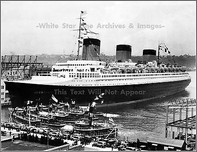 Photo: GRAND View: SS Normandie In NY After Blue Riband Run, 1935