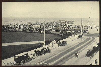 Sepia Photo Pc, Ocean Front From Asbury Ave., Asbury Park, N.j. Old Cars + Beach