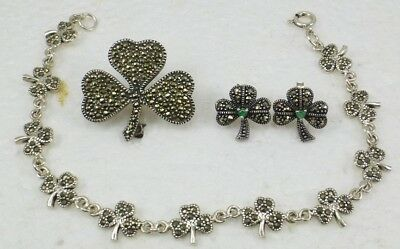 """Lot of 3 """"Three Leaf Clover"""" Jewelry Marcasite/925 Sterling Silver 15.9 Grams"""