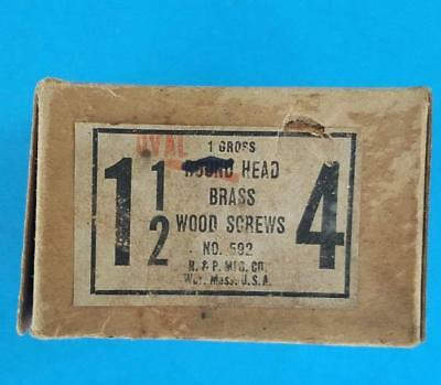 """144 Vintage #4 -- 1 1/2"""" Oval Head Brass Slotted Wood Screws NOS Box"""