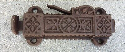 Antique 1874 Victorian Eastlake Cast Iron Door Top Latch Spring Dead Bolt Lock