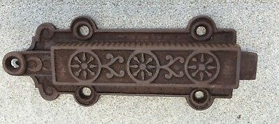 Antique Victorian Eastlake Cast Iron Door Latch Pull Spring Bolt Lever Lock