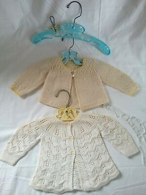 2 Beautiful Vintage Crochet Newborn Sweaters & 4 Hangers
