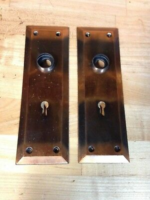 2 Antique Vintage Copper Flash Door Knob Key Hole Lock Plate Parts