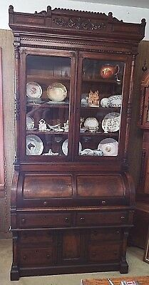Old Antique 1880's WALNUT SECRETARY BOOKCASE VICTORIAN EASTLAKE Cylinder DESK