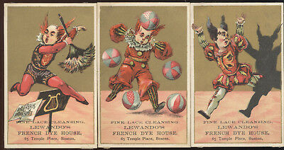 LOT OF 3 1880s TRADE CARDS ADVERTISING LEWANDO'S FRENCH DYE HOUSE, BOSTON, MA.