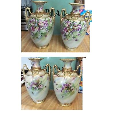 Stunning Pair Vintage Nippon Vases Hand Painted Orchids Flowers Gold Embellished