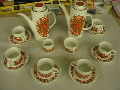 "Vintage Retro J&G Meakin Pottery ""Madrid"" Design by Jessie Tate 1960s Coffee Set"