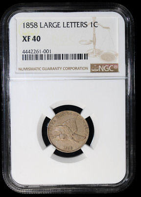 1858 Flying Eagle Cent **large Letters** Ngc Xf40 #61-001