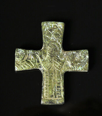 ARTEMIS GALLERY 12th C. Byzantine Bronze Reliquary Cross - Virgin Mary