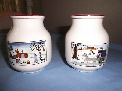 VILLEROY & BOCH NAIF CHRISTMAS  SMALL VASE, HTF, excellent condition 2 avail