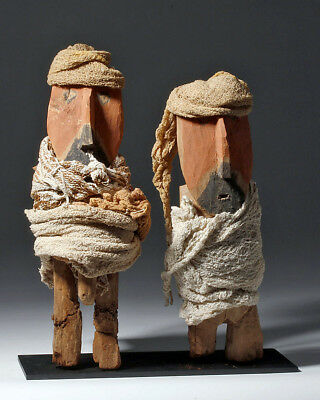 ARTEMIS GALLERY Chancay Painted Wood Figures - Male & Female