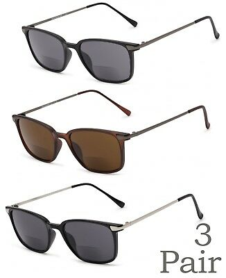 ebfe7970234 1 or 3 Pair(s) Retro Square Frame Inner Bifocal Sunglasses Reading  Sunglasses