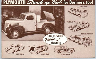 1939 PLYMOUTH Automobile Advertising Postcard Pick-Up Truck - Unused