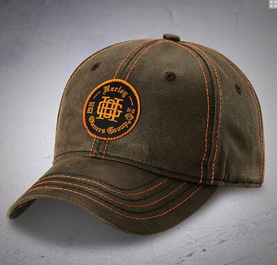 Hog Charcoal Brown Monogram Patch Ball Cap Harley Davidson Owners Group Hat