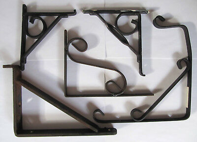 Lot 4 Vintage Shelf Brackets (unmatched) & 1 Plant Holder - Household Hardware