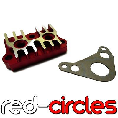 Red Cnc Pit Bike Oil Cooler Take Off Plate Adapter Yx125 Yx140 Pitbike