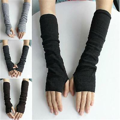 Ladies Long Finger Less Soft Gloves NEW Arm Warmers Sleeves 4 Colors LC