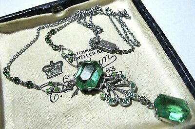 VINTAGE Antique 30s ART DECO Beautiful Peridot Crystal Rhinestone Drop NECKLACE