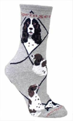 Adult Size Medium SPRINGER SPANIEL Adult Socks/Grey Made in USA