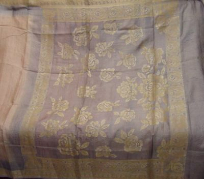 Antique Vintage Two Color Pure Silk Sari  Flower Weaving Woven Saree Craft Deco