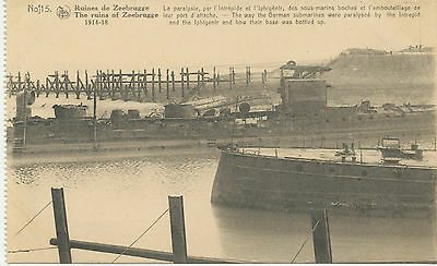 WWI superb mint postcard ZEEBRUGGE, Belgium – The ruins of Zeebrugge 1914-1918