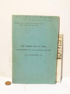 Signed Book ROMAN SITE at  WELL North Yorks 1938 R GILYARD-BEER Part YAJ 135
