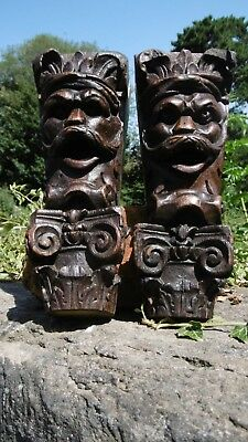 SUPERB Pr 19thc GOTHIC OAK CARVED CORBELS MALE HEADS WITH MOUSTACHE C.1860's